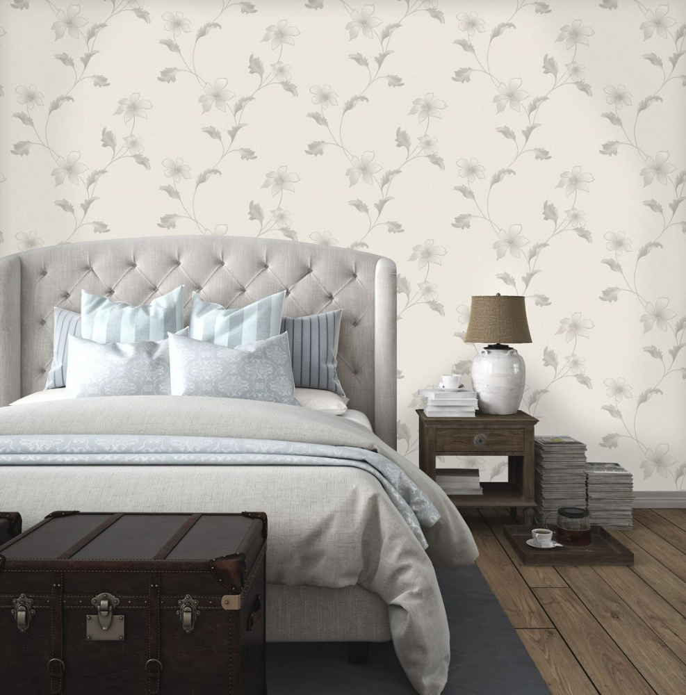 Holden Decor Floriana Dove Grey Trail 35301 Wallpaper